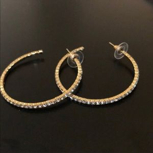 J. Crew Pave Hoop Earrings